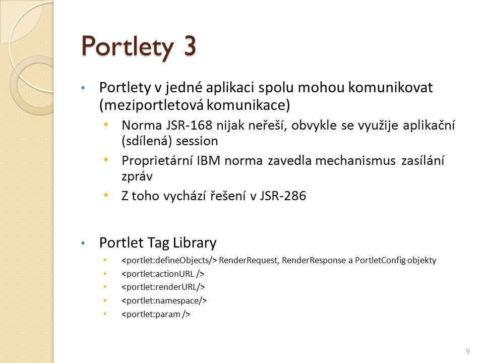 Portlety 3 Portlety v jedné aplikaci spolu mohou komunikovat (meziportletová komunikace) Norma JSR-168 nijak neřeší, obvykle se využije aplikační (sdílená) session Proprietární IBM norma zavedla mechanismus zasílání zpráv Z toho vychází řešení v JSR-286 Portlet Tag Library RenderRequest, RenderResponse a PortletConfig objekty 9