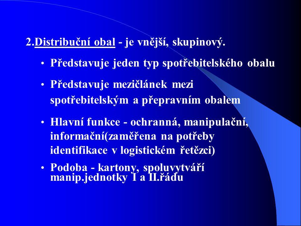 2.Distribuční obal - je vnější, skupinový. Představuje jeden typ spotřebitelského obalu Představuje mezičlánek mezi spotřebitelským a přepravním obale