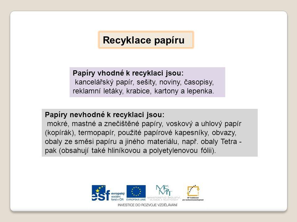 Recyklace papíru Papíry vhodné k recyklaci jsou: kancelářský papír, sešity, noviny, časopisy, reklamní letáky, krabice, kartony a lepenka. Papíry nevh