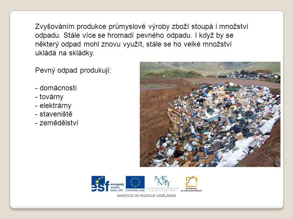 Zvyšováním produkce průmyslové výroby zboží stoupá i množství odpadu. Stále více se hromadí pevného odpadu. I když by se některý odpad mohl znovu využ