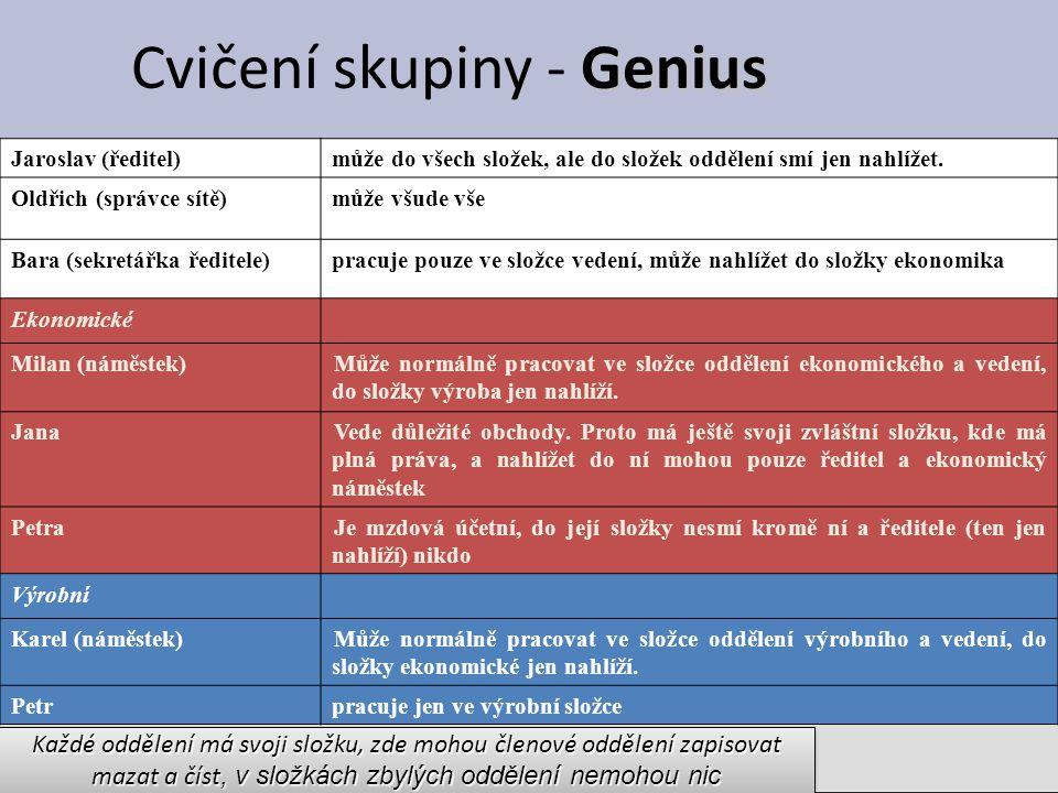 Genius Cvičení skupiny - Genius Jaroslav (ředitel)může do všech složek, ale do složek oddělení smí jen nahlížet.
