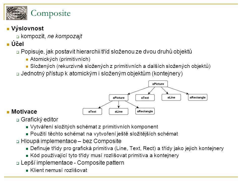 Composite Výslovnost  kompozit, ne kompozajt Účel  Popisuje, jak postavit hierarchii tříd složenou ze dvou druhů objektů Atomických (primitivních) Složených (rekurzivně složených z primitivních a dalších složených objektů)  Jednotný přístup k atomickým i složeným objektům (kontejnery) Motivace  Grafický editor Vytváření složitých schémat z primitivních komponent Použití těchto schémat na vytvoření ještě složitějších schémat  Hloupá implementace – bez Composite Definuje třídy pro grafická primitiva (Line, Text, Rect) a třídy jako jejich kontejnery Kód používající tyto třídy musí rozlišovat primitiva a kontejnery  Lepší implementace - Composite pattern Klient nemusí rozlišovat