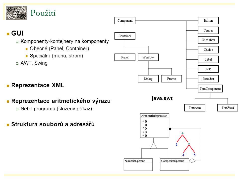 Použití GUI  Komponenty-kontejnery na komponenty Obecné (Panel, Container) Speciální (menu, strom)  AWT, Swing Reprezentace XML Reprezentace aritmetického výrazu  Nebo programu (složený příkaz) Struktura souborů a adresářů java.awt