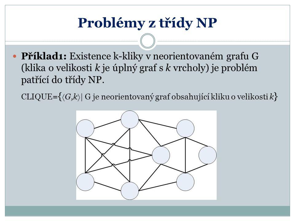 Problémy z třídy NP Příklad1: Existence k-kliky v neorientovaném grafu G (klika o velikosti k je úplný graf s k vrcholy) je problém patřící do třídy N