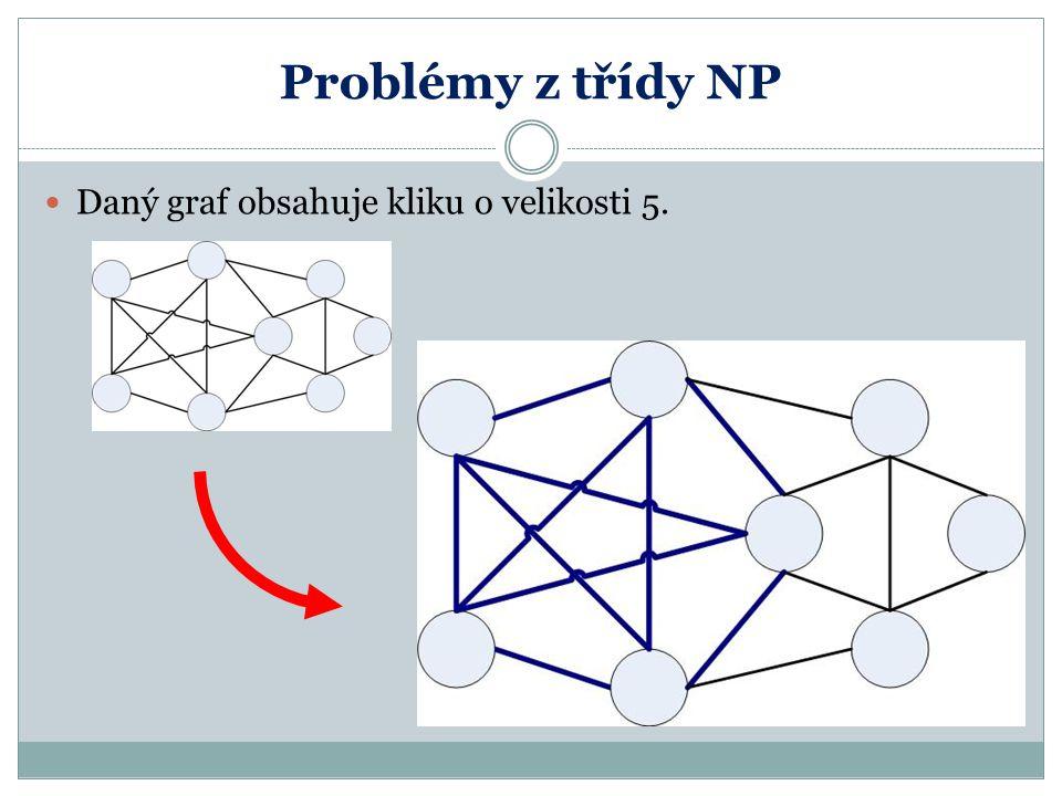 Problémy z třídy NP Daný graf obsahuje kliku o velikosti 5.