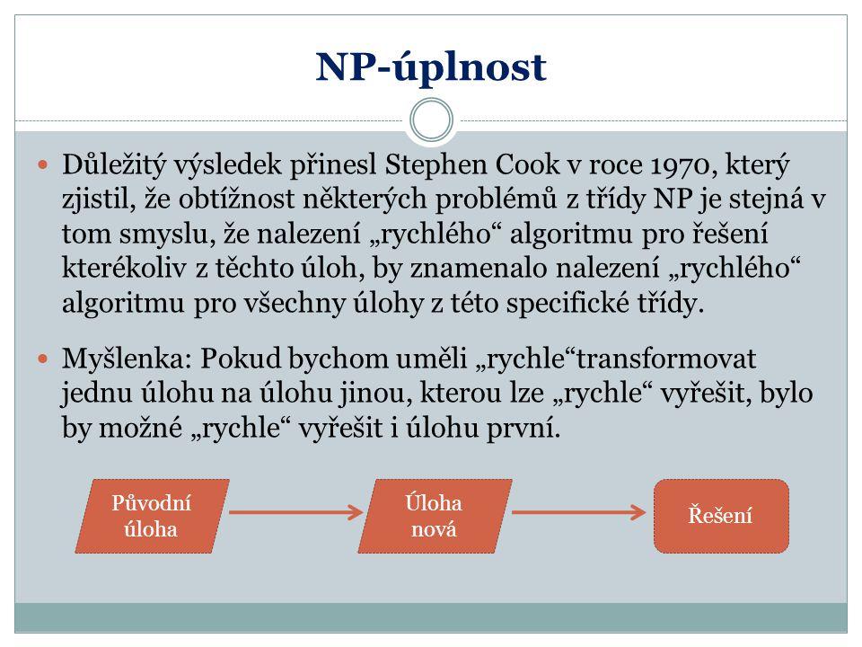 NP-úplnost Důležitý výsledek přinesl Stephen Cook v roce 1970, který zjistil, že obtížnost některých problémů z třídy NP je stejná v tom smyslu, že na