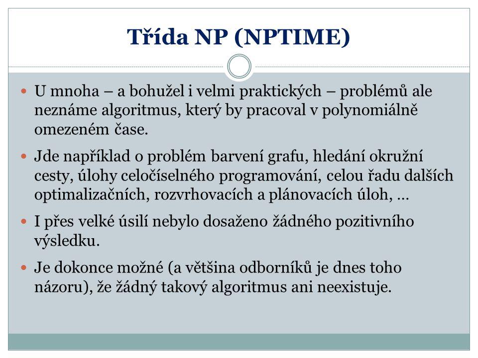 Problémy z NP POZOR: Přestože byl nalezen algoritmus, který pro dané přirozené číslo rozhodne, zda je prvočíslem v polynomiálně omezeném čase, tento algoritmus v případě složeného čísla neumí najít jeho dělitele (tento algoritmus neumí dané číslo faktorizovat).