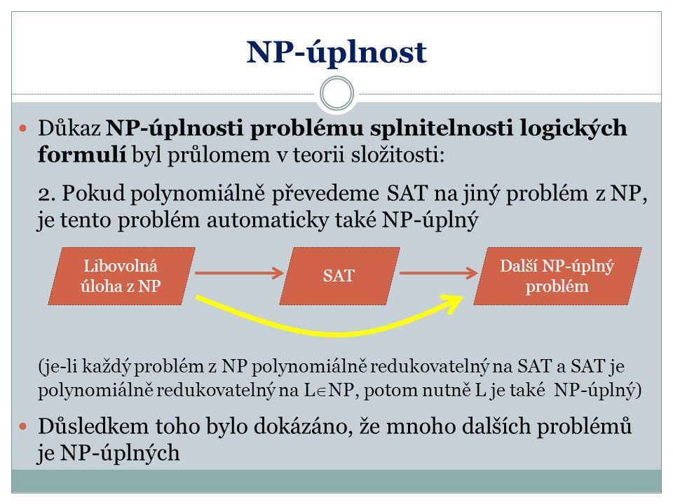 NP-úplnost Důkaz NP-úplnosti problému splnitelnosti logických formulí byl průlomem v teorii složitosti: 2. Pokud polynomiálně převedeme SAT na jiný pr