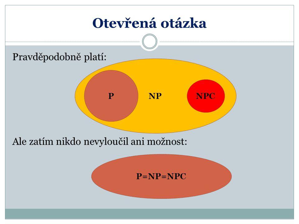 Otevřená otázka Pravděpodobně platí: Ale zatím nikdo nevyloučil ani možnost: P=NP=NPC NP P NPC
