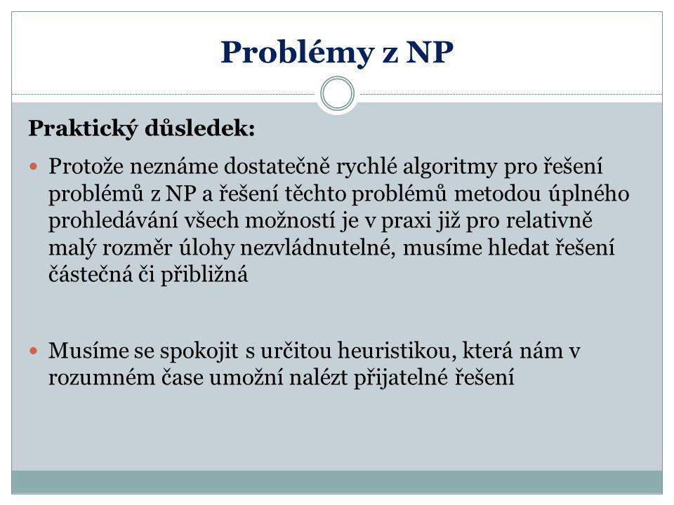 Problémy z NP Praktický důsledek: Protože neznáme dostatečně rychlé algoritmy pro řešení problémů z NP a řešení těchto problémů metodou úplného prohle