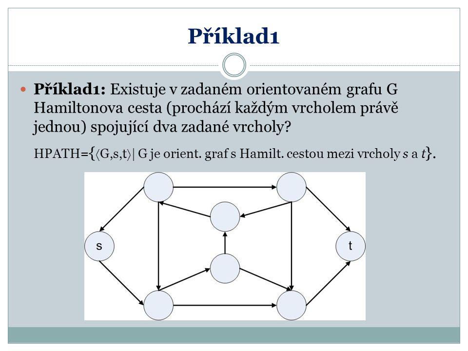 Příklad1 Příklad1: Existuje v zadaném orientovaném grafu G Hamiltonova cesta (prochází každým vrcholem právě jednou) spojující dva zadané vrcholy? HPA