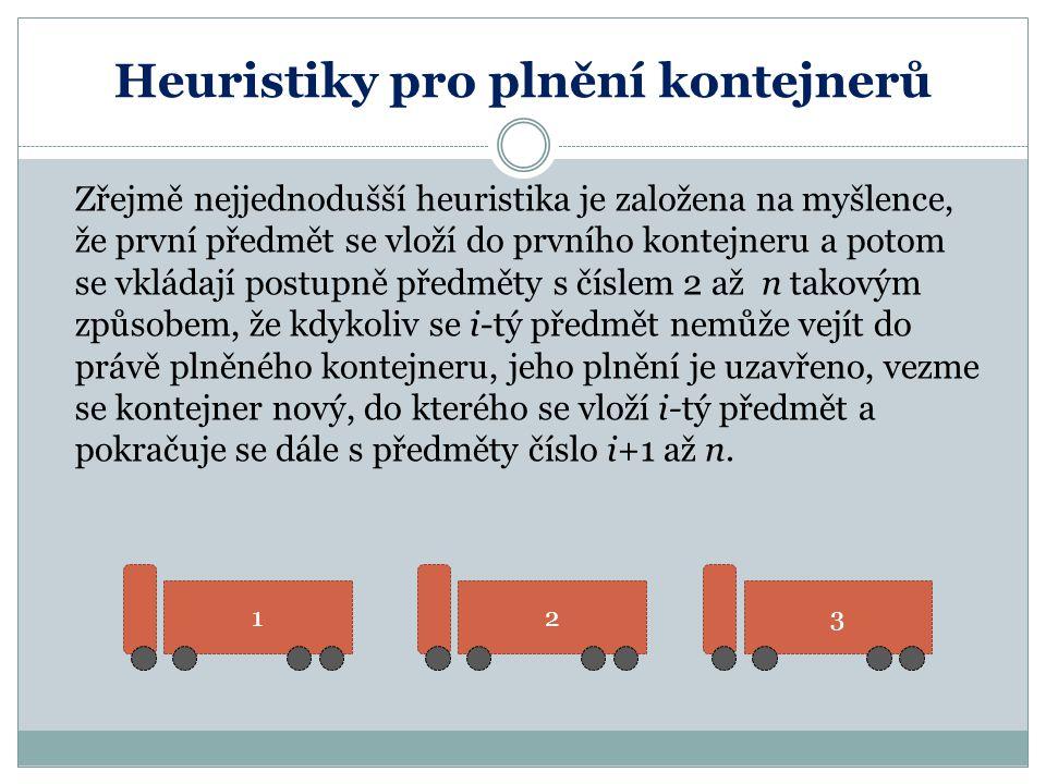 Heuristiky pro plnění kontejnerů Zřejmě nejjednodušší heuristika je založena na myšlence, že první předmět se vloží do prvního kontejneru a potom se v