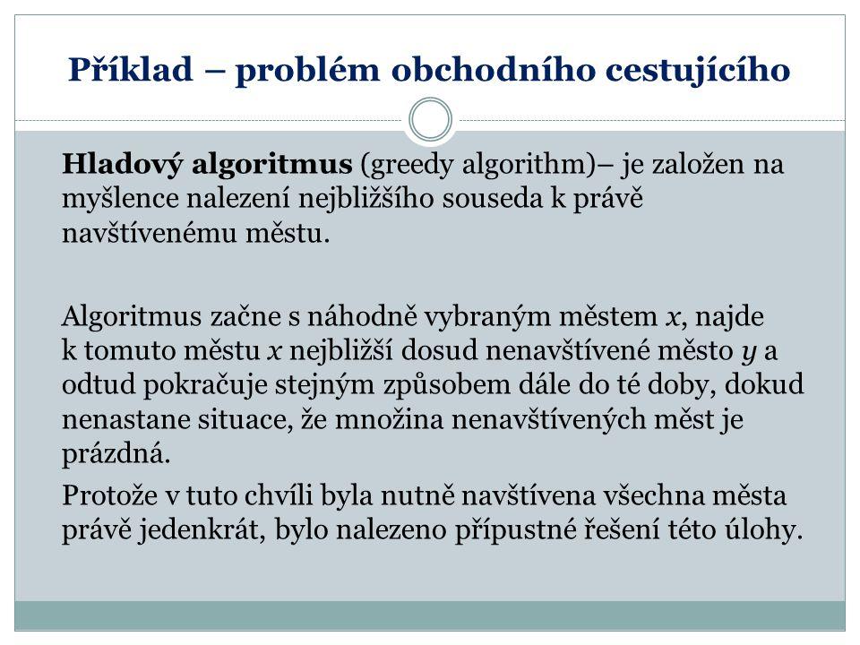 Příklad – problém obchodního cestujícího Hladový algoritmus (greedy algorithm)– je založen na myšlence nalezení nejbližšího souseda k právě navštívené