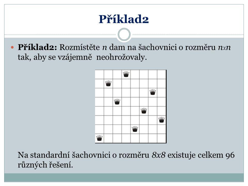 Příklad2 Příklad2: Rozmístěte n dam na šachovnici o rozměru n x n tak, aby se vzájemně neohrožovaly. Na standardní šachovnici o rozměru 8x8 existuje c
