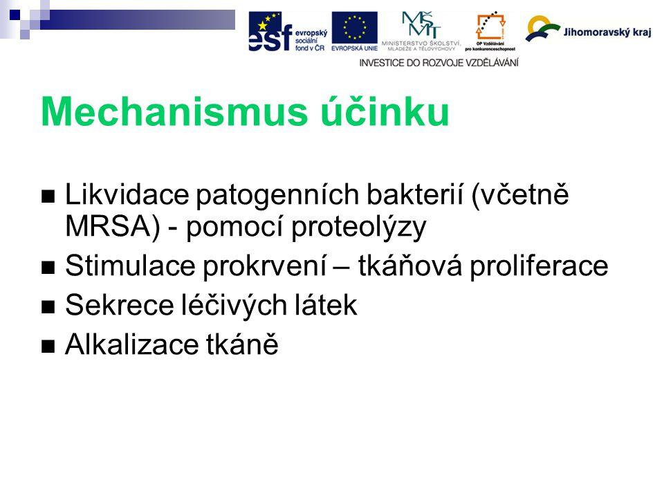 Mechanismus účinku Likvidace patogenních bakterií (včetně MRSA) - pomocí proteolýzy Stimulace prokrvení – tkáňová proliferace Sekrece léčivých látek Alkalizace tkáně