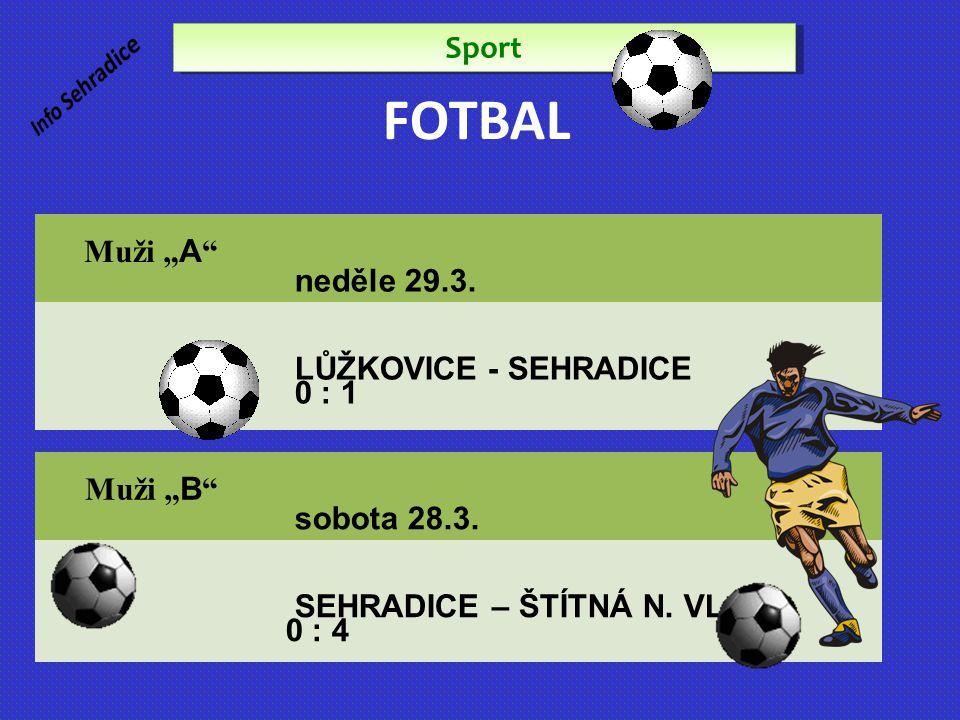 """FOTBAL Sport Muži """" A """" sobota 22.6. Sehradice – Veselá 1:1 Muži """" A """" neděle 29.3. LŮŽKOVICE - SEHRADICE 0 : 1 Muži """" B """" sobota 28.3. SEHRADICE – ŠT"""
