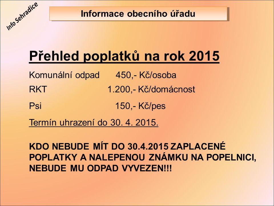 Přehled poplatků na rok 2015 Komunální odpad450,- Kč/osoba RKT 1.200,- Kč/domácnost Psi 150,- Kč/pes Termín uhrazení do 30. 4. 2015. KDO NEBUDE MÍT DO