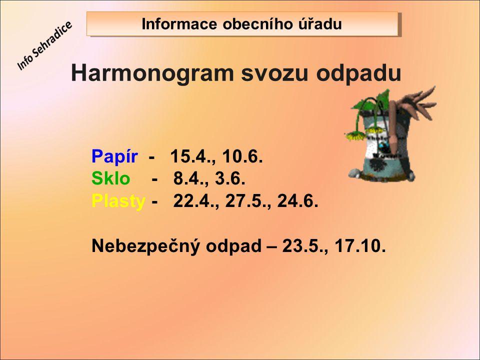 Harmonogram svozu odpadu Papír - 15.4., 10.6. Sklo - 8.4., 3.6. Plasty - 22.4., 27.5., 24.6. Nebezpečný odpad – 23.5., 17.10. Informace obecního úřadu