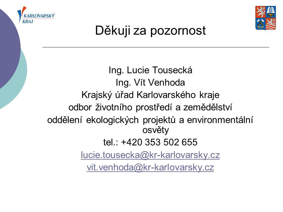 Děkuji za pozornost Ing. Lucie Tousecká Ing. Vít Venhoda Krajský úřad Karlovarského kraje odbor životního prostředí a zemědělství oddělení ekologickýc