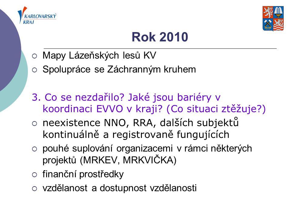 Rok 2010  Mapy Lázeňských lesů KV  Spolupráce se Záchranným kruhem 3. Co se nezdařilo? Jaké jsou bariéry v koordinaci EVVO v kraji? (Co situaci ztěž