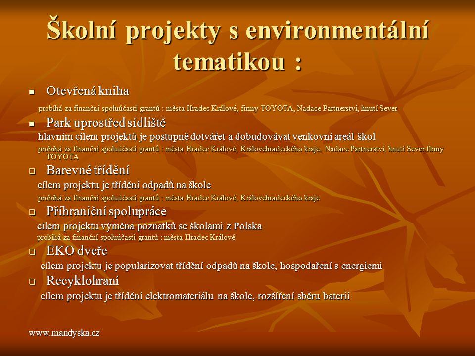 Školní projekty s environmentální tematikou : Otevřená kniha Otevřená kniha probíhá za finanční spoluúčasti grantů : města Hradec Králové, firmy TOYOT