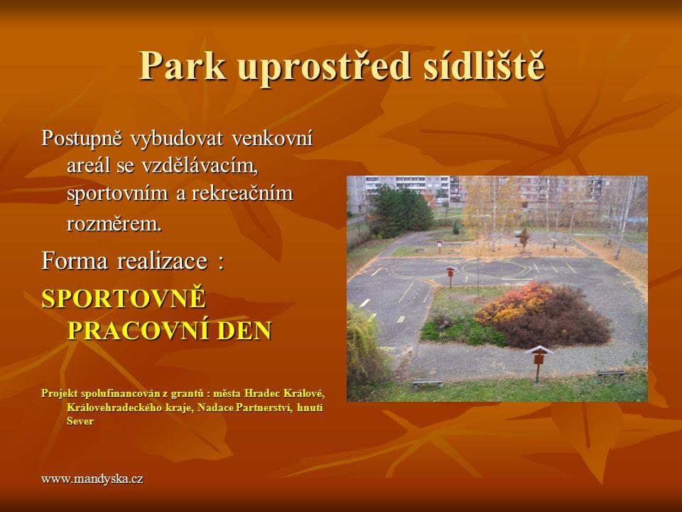 Park uprostřed sídliště Postupně vybudovat venkovní areál se vzdělávacím, sportovním a rekreačním rozměrem. Forma realizace : SPORTOVNĚ PRACOVNÍ DEN P