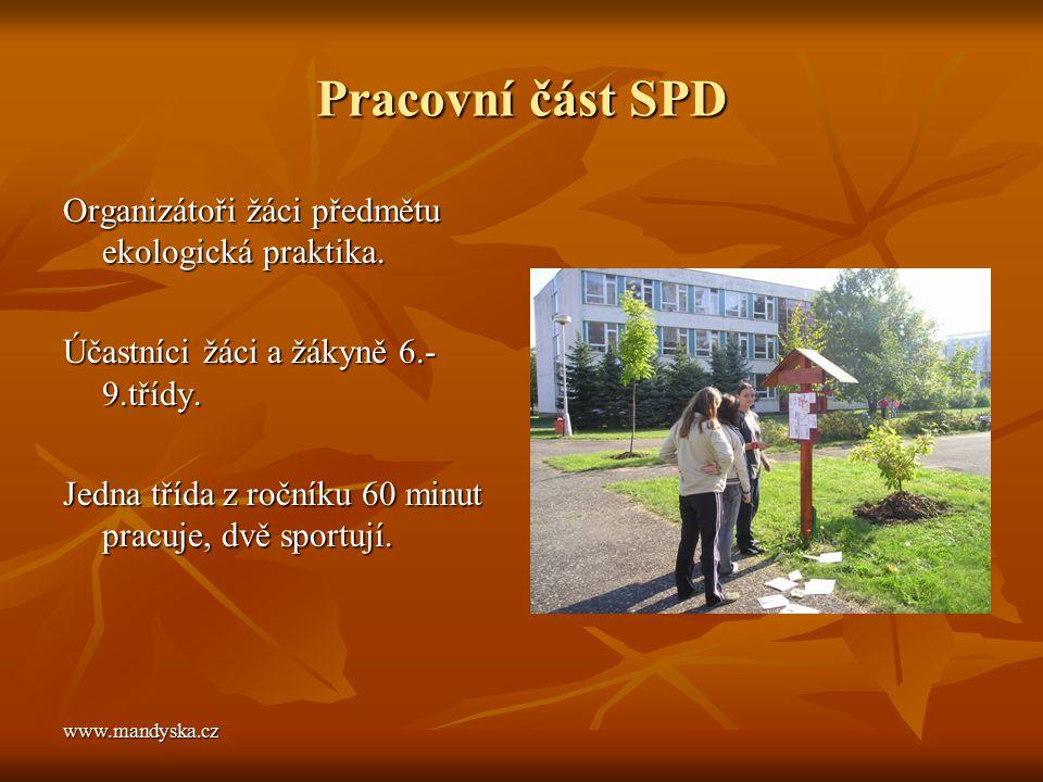 www.mandyska.cz Pracovní část SPD Organizátoři žáci předmětu ekologická praktika. Účastníci žáci a žákyně 6.- 9.třídy. Jedna třída z ročníku 60 minut