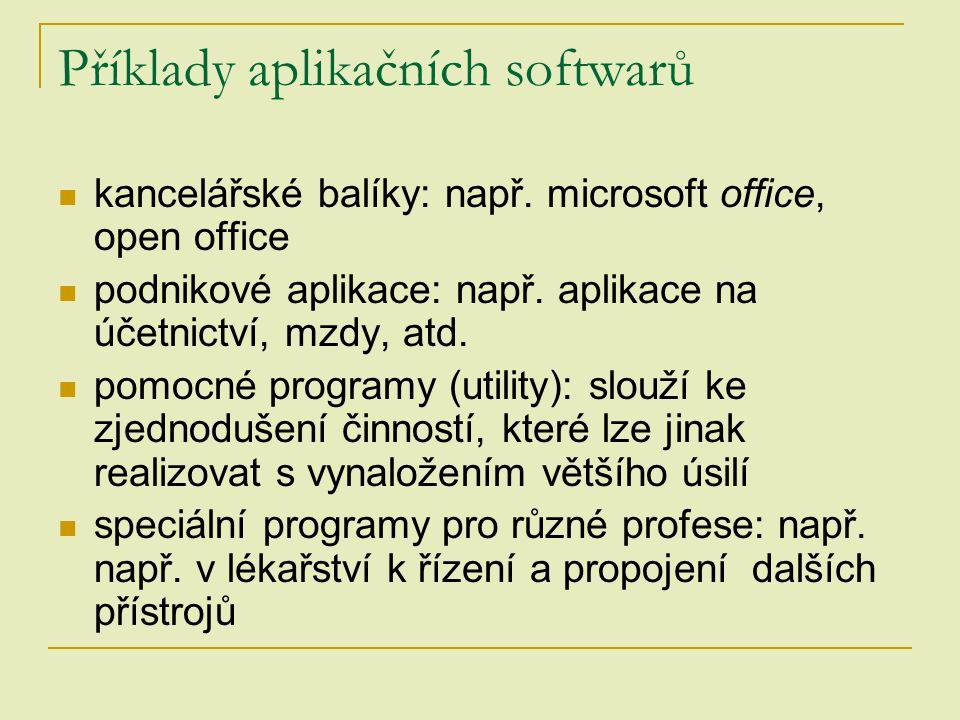 Příklady aplikačních softwarů kancelářské balíky: např. microsoft office, open office podnikové aplikace: např. aplikace na účetnictví, mzdy, atd. pom
