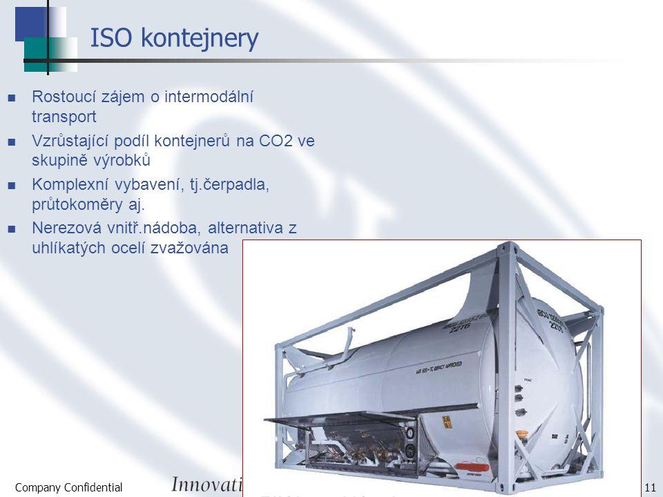 Company Confidential Page 11 ISO kontejnery Rostoucí zájem o intermodální transport Vzrůstající podíl kontejnerů na CO2 ve skupině výrobků Komplexní v