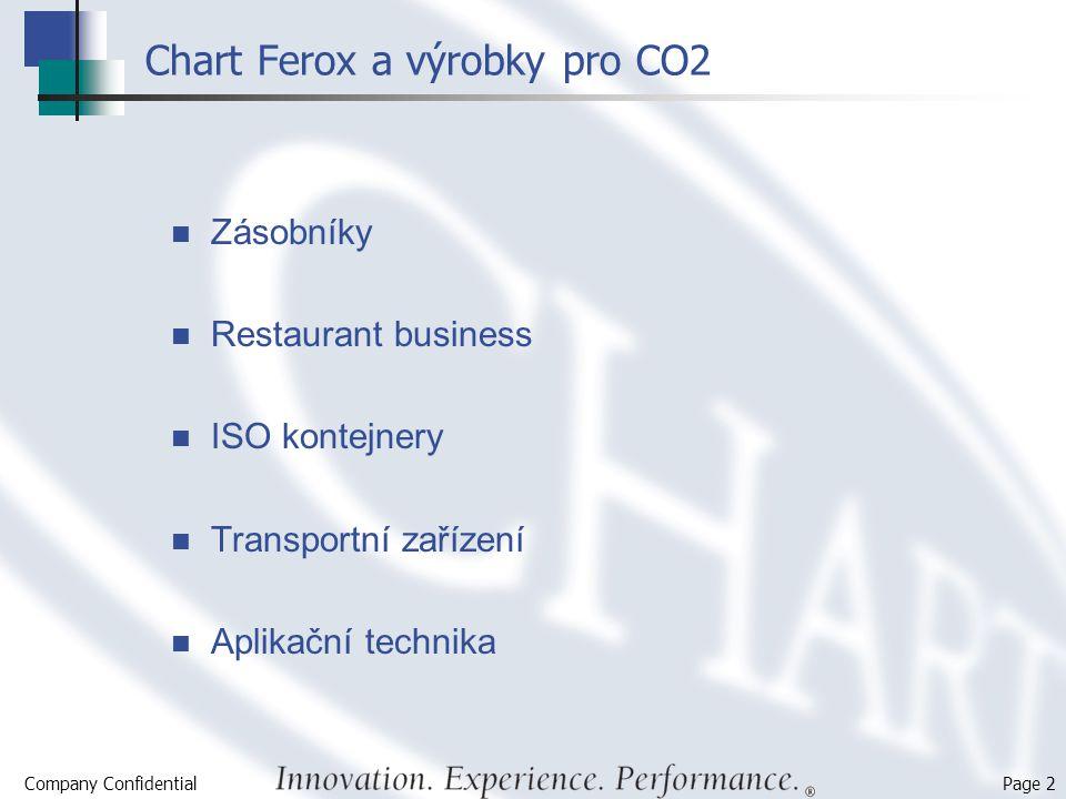 Company Confidential Page 2 Chart Ferox a výrobky pro CO2 Zásobníky Restaurant business ISO kontejnery Transportní zařízení Aplikační technika
