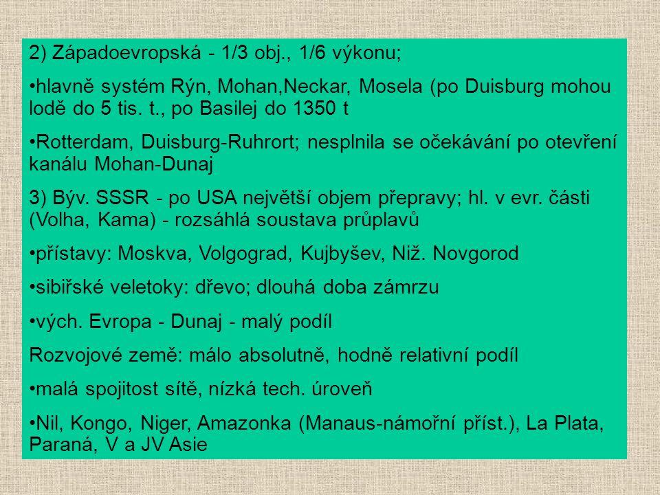 2) Západoevropská - 1/3 obj., 1/6 výkonu; hlavně systém Rýn, Mohan,Neckar, Mosela (po Duisburg mohou lodě do 5 tis. t., po Basilej do 1350 t Rotterdam