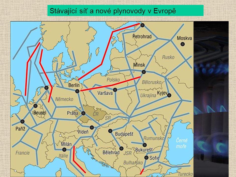 Stávající síť a nové plynovody v Evropě