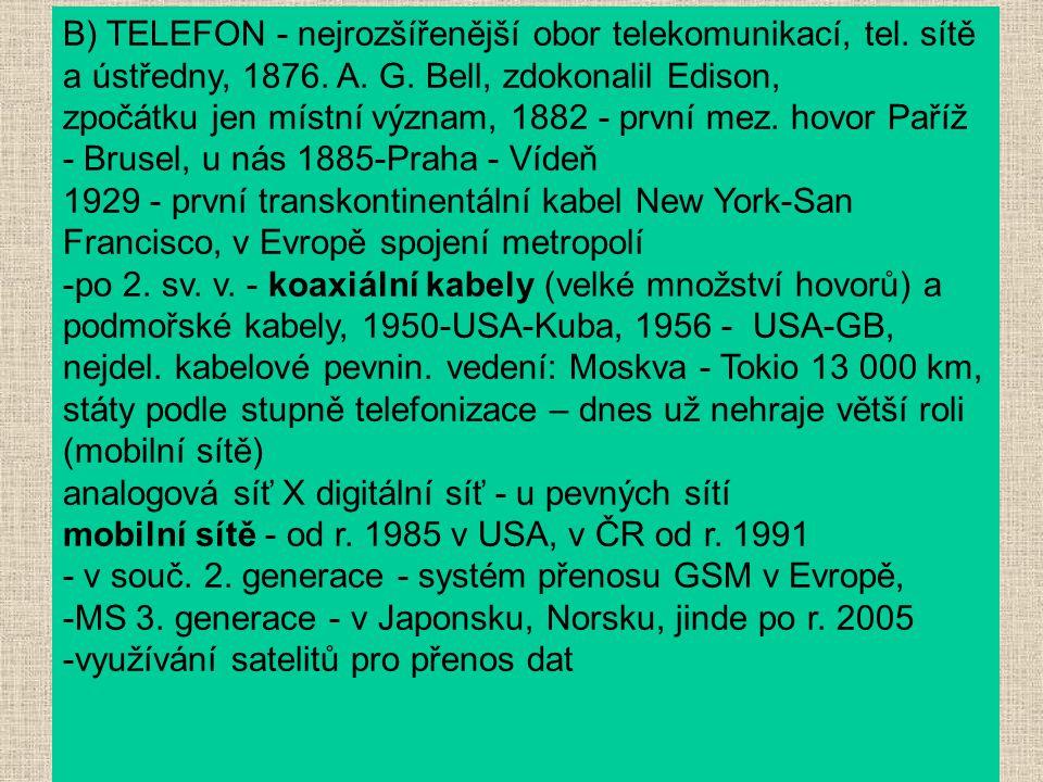 B) TELEFON - nejrozšířenější obor telekomunikací, tel. sítě a ústředny, 1876. A. G. Bell, zdokonalil Edison, zpočátku jen místní význam, 1882 - první