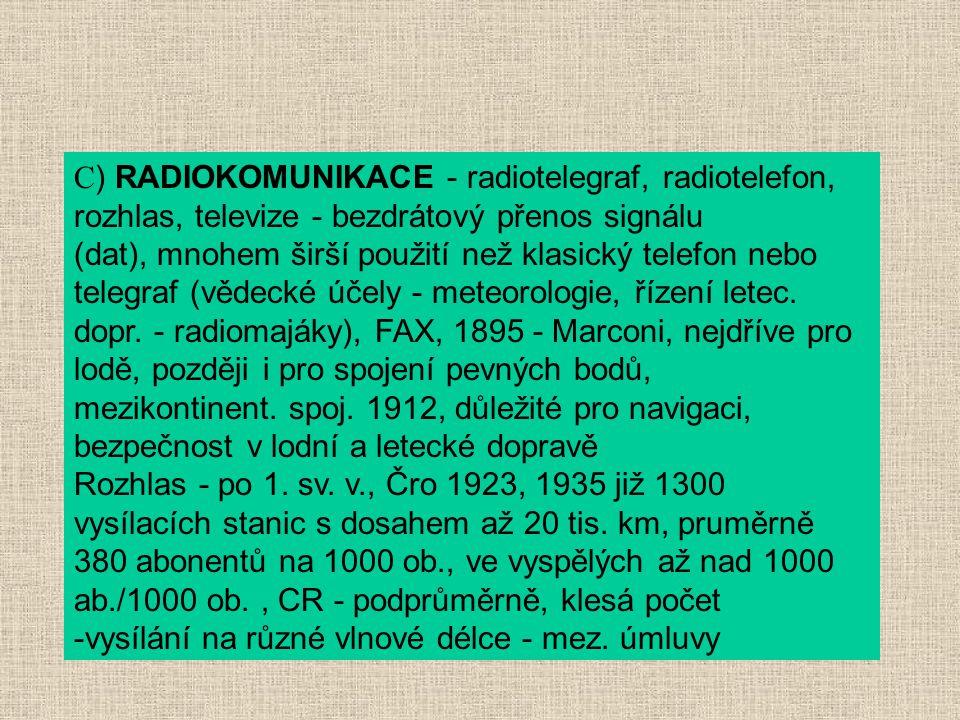 C ) RADIOKOMUNIKACE - radiotelegraf, radiotelefon, rozhlas, televize - bezdrátový přenos signálu (dat), mnohem širší použití než klasický telefon nebo