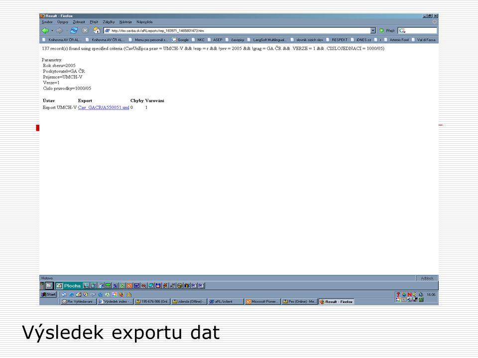 Výsledek exportu dat