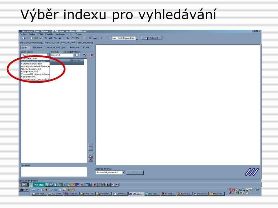 Index - vyhledané záznamy