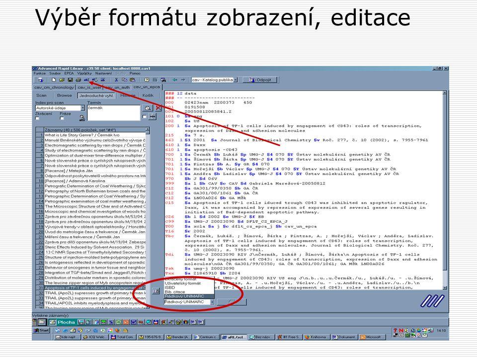 Export dat do formátu xml