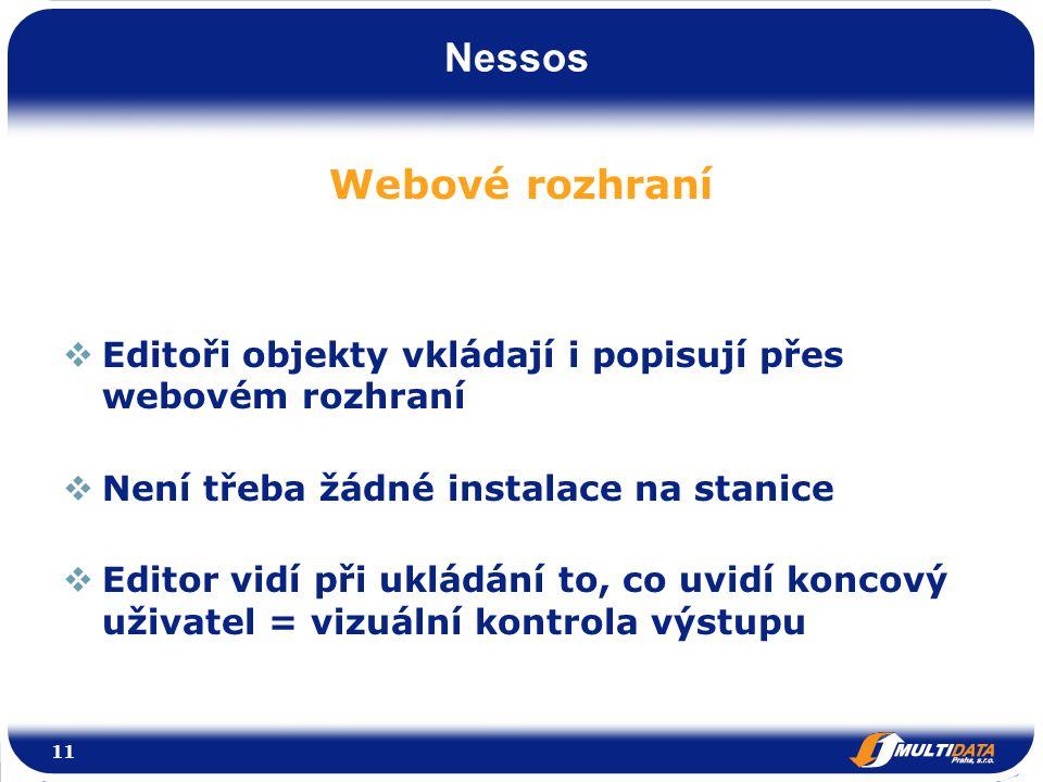 Nessos Webové rozhraní  Editoři objekty vkládají i popisují přes webovém rozhraní  Není třeba žádné instalace na stanice  Editor vidí při ukládání to, co uvidí koncový uživatel = vizuální kontrola výstupu 11