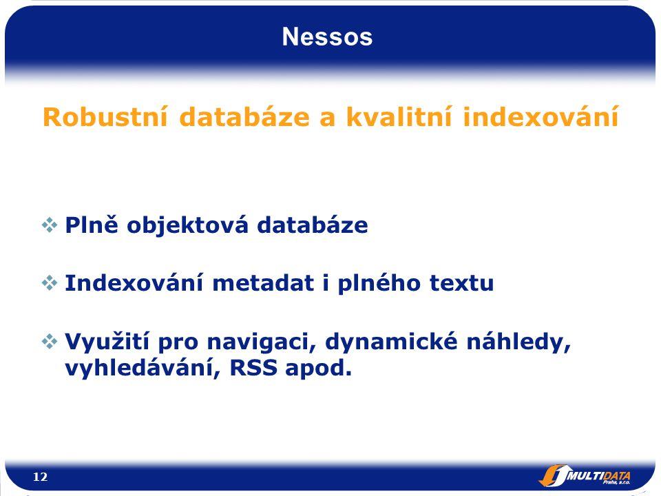 Nessos Robustní databáze a kvalitní indexování  Plně objektová databáze  Indexování metadat i plného textu  Využití pro navigaci, dynamické náhledy, vyhledávání, RSS apod.