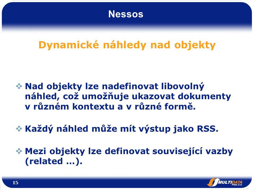 Nessos Dynamické náhledy nad objekty  Nad objekty lze nadefinovat libovolný náhled, což umožňuje ukazovat dokumenty v různém kontextu a v různé formě.