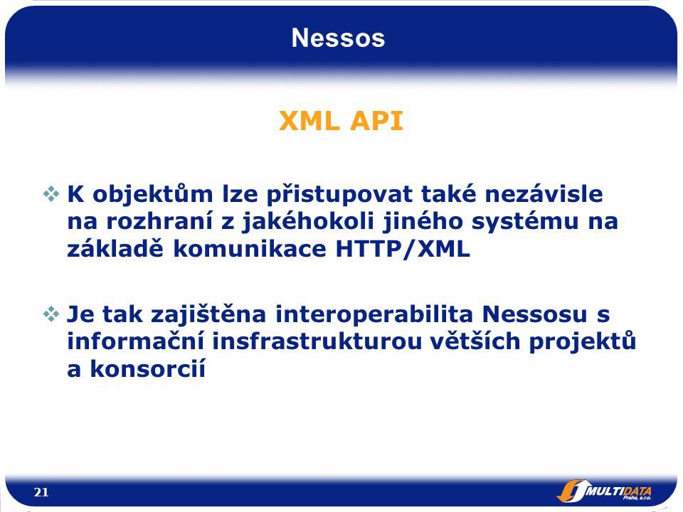 Nessos XML API  K objektům lze přistupovat také nezávisle na rozhraní z jakéhokoli jiného systému na základě komunikace HTTP/XML  Je tak zajištěna interoperabilita Nessosu s informační insfrastrukturou větších projektů a konsorcií 21