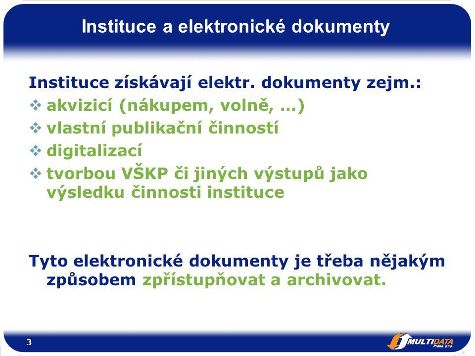 3 Instituce a elektronické dokumenty Instituce získávají elektr.