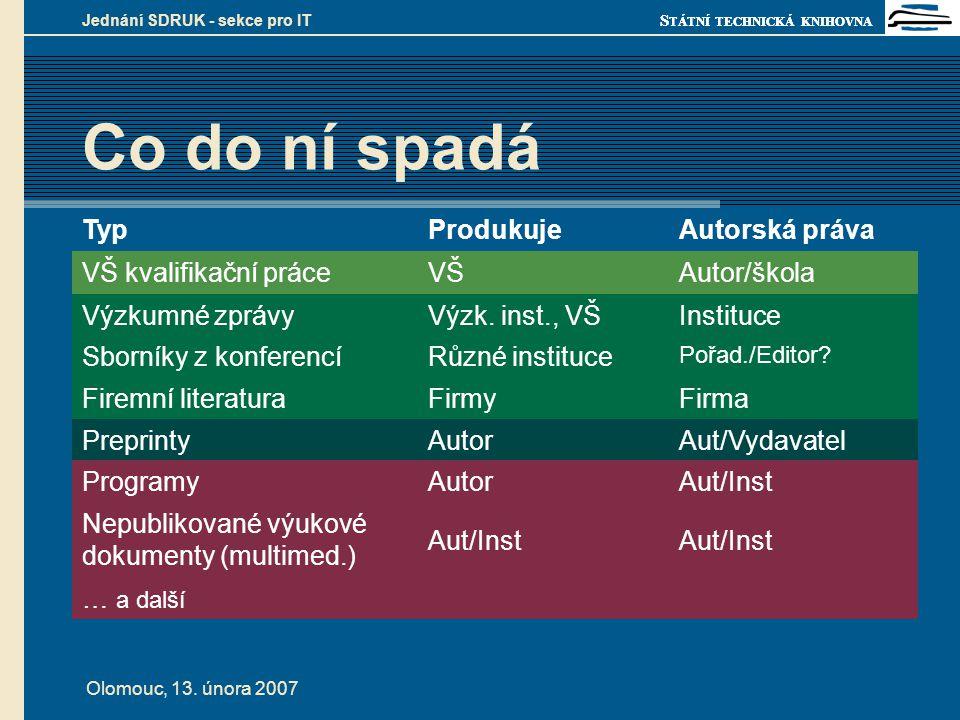 S TÁTNÍ TECHNICKÁ KNIHOVNA Olomouc, 13. února 2007 Jednání SDRUK - sekce pro IT Co do ní spadá TypProdukujeAutorská práva VŠ kvalifikační práceVŠAutor