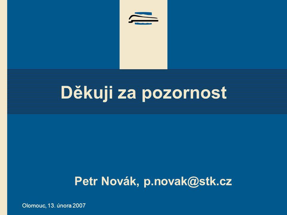Olomouc, 13. února 2007 Děkuji za pozornost Petr Novák, p.novak@stk.cz