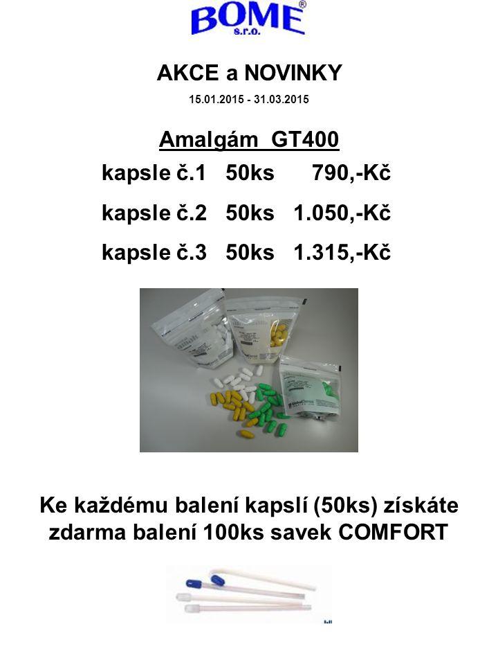 Amalgám GT400 Ke každému balení kapslí (50ks) získáte zdarma balení 100ks savek COMFORT AKCE a NOVINKY 15.01.2015 - 31.03.2015 kapsle č.1 50ks 790,-Kč kapsle č.2 50ks 1.050,-Kč kapsle č.3 50ks 1.315,-Kč