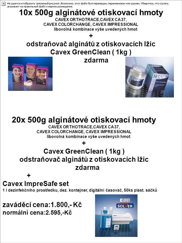 10x 500g alginátové otiskovací hmoty CAVEX ORTHOTRACE,CAVEX CA 37, CAVEX COLORCHANGE, CAVEX IMPRESSIONAL libovolná kombinace výše uvedených hmot + odstraňovač alginátů z otiskovacích lžic Cavex GreenClean ( 1kg ) zdarma 20x 500g alginátové otiskovací hmoty CAVEX ORTHOTRACE,CAVEX CA 37, CAVEX COLORCHANGE, CAVEX IMPRESSIONAL libovolná kombinace výše uvedených hmot + Cavex GreenClean ( 1kg ) odstraňovač alginátů z otiskovacích lžic zdarma + Cavex ImpreSafe set 1 l dezinfekčního prostředku, dez.