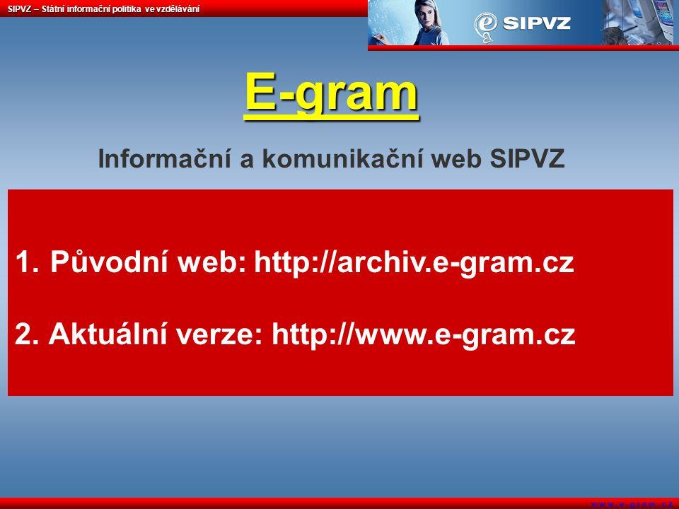 SIPVZ – Státní informační politika ve vzdělávání w w w. e - g r a m. c z E-gram E-gram Informační a komunikační web SIPVZ 1. Původní web: http://archi