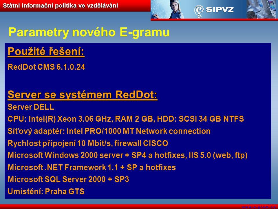 Státní informační politika ve vzdělávání w w w. e - g r a m. c z Parametry nového E-gramu Použité řešení: RedDot CMS 6.1.0.24 Server se systémem RedDo