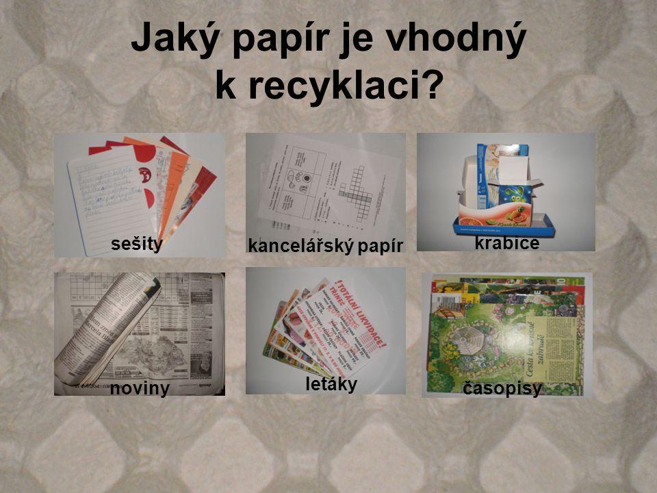 Jaký papír je vhodný k recyklaci? sešity kancelářský papír krabice noviny letáky časopisy