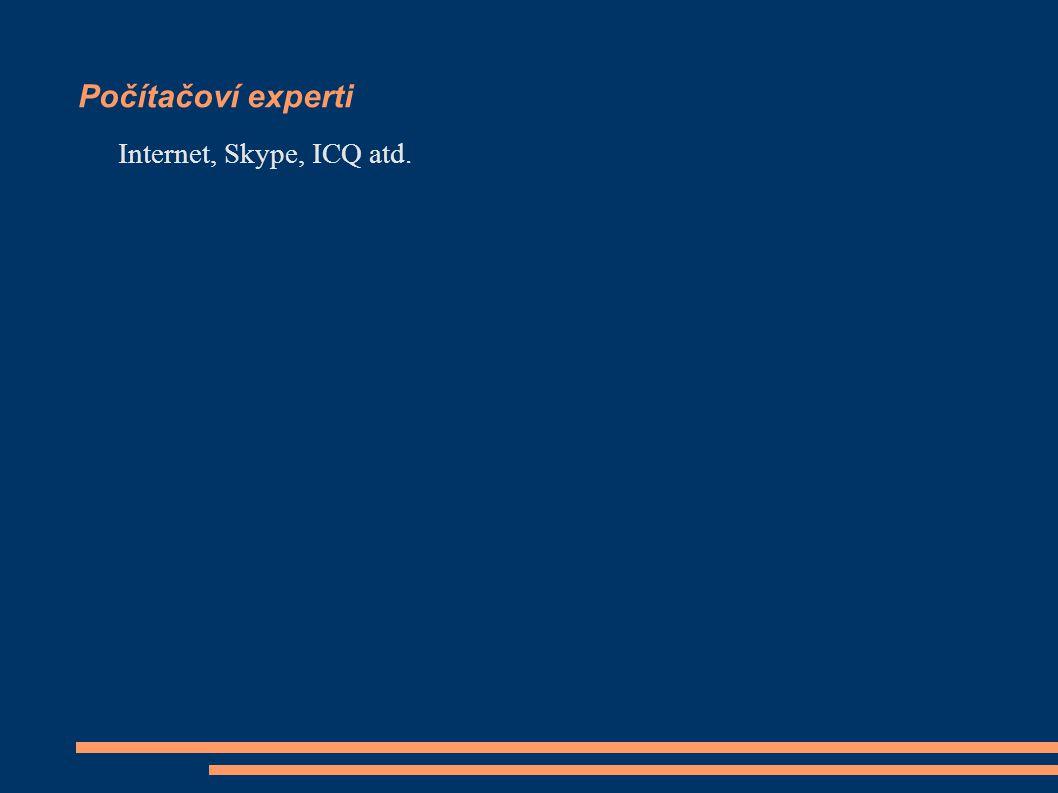 Počítačoví experti Internet, Skype, ICQ atd.